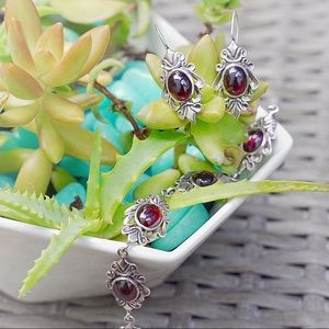 Garnet Sterling Silver Bracelet and Earrings Set